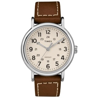 Timex Men's TW2R42400 Weekender 40 Brown/Cream Leather Strap Watch