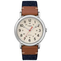 Timex Unisex TW2R42000 Weekender Blue/Brown/Cream Fabric/Leather Strap Watch