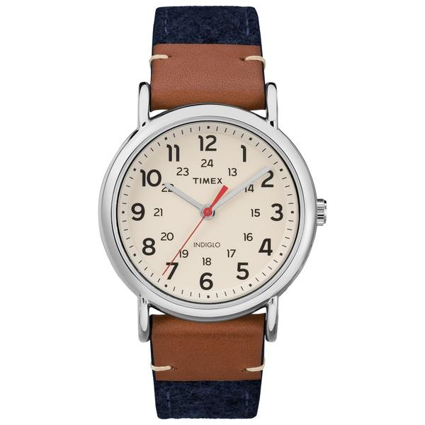 Timex Unisex TW2R42000 Weekender Blue/Brown/Cream Fabric/Leather Strap Watch