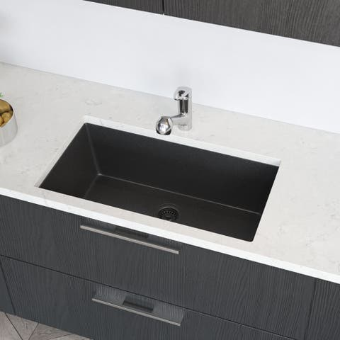 R3-1006 Single Bowl Undermount Composite Granite Kitchen Sink with Grid and Matching Colored Strainer