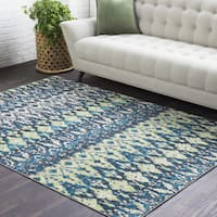 "The Curated Nomad Eastgate Green Ikat Area Rug - 5'3"" x 7'6"""