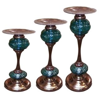 Benzara Blue and Brown Glass and Metal Pillar Candleholders (Set of 3)