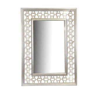 Benzara Silver Wood-framed Wall Mirror