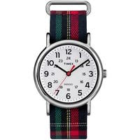 Timex Women's TW2R10900 Weekender Blue Plaid Fabric Slip-Thru Strap Watch