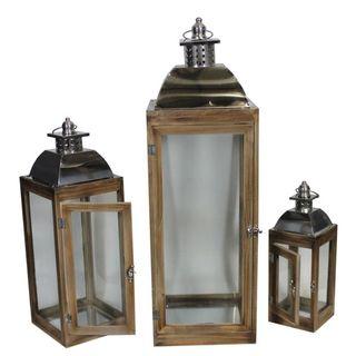 Benzara Brown Wood 3-piece Lantern Set