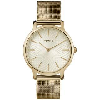 Timex Women's TW2R36100 Metropolitan Skyline Gold-Tone Stainless Steel Mesh Bracelet Watch