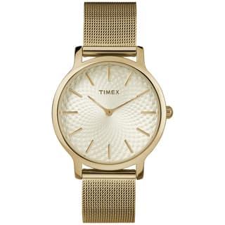 Timex Women's TW2R36100 Metropolitan Skyline Gold-Tone Stainless Steel Mesh Bracelet Watch|https://ak1.ostkcdn.com/images/products/16767229/P23075952.jpg?impolicy=medium