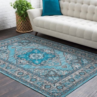 "Haute Hali Blue Traditional Floral Area Rug - 5'3"" x 7'6"""