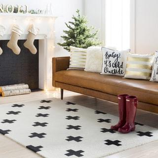"""Trocadero White Modern Geometric Wool Handmade Area Rug - 5' x 7'6"""""""