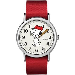Timex Unisex TW2R41400 Weekender x Peanuts: Snoopy Nylon Slip-Thru Strap Watch