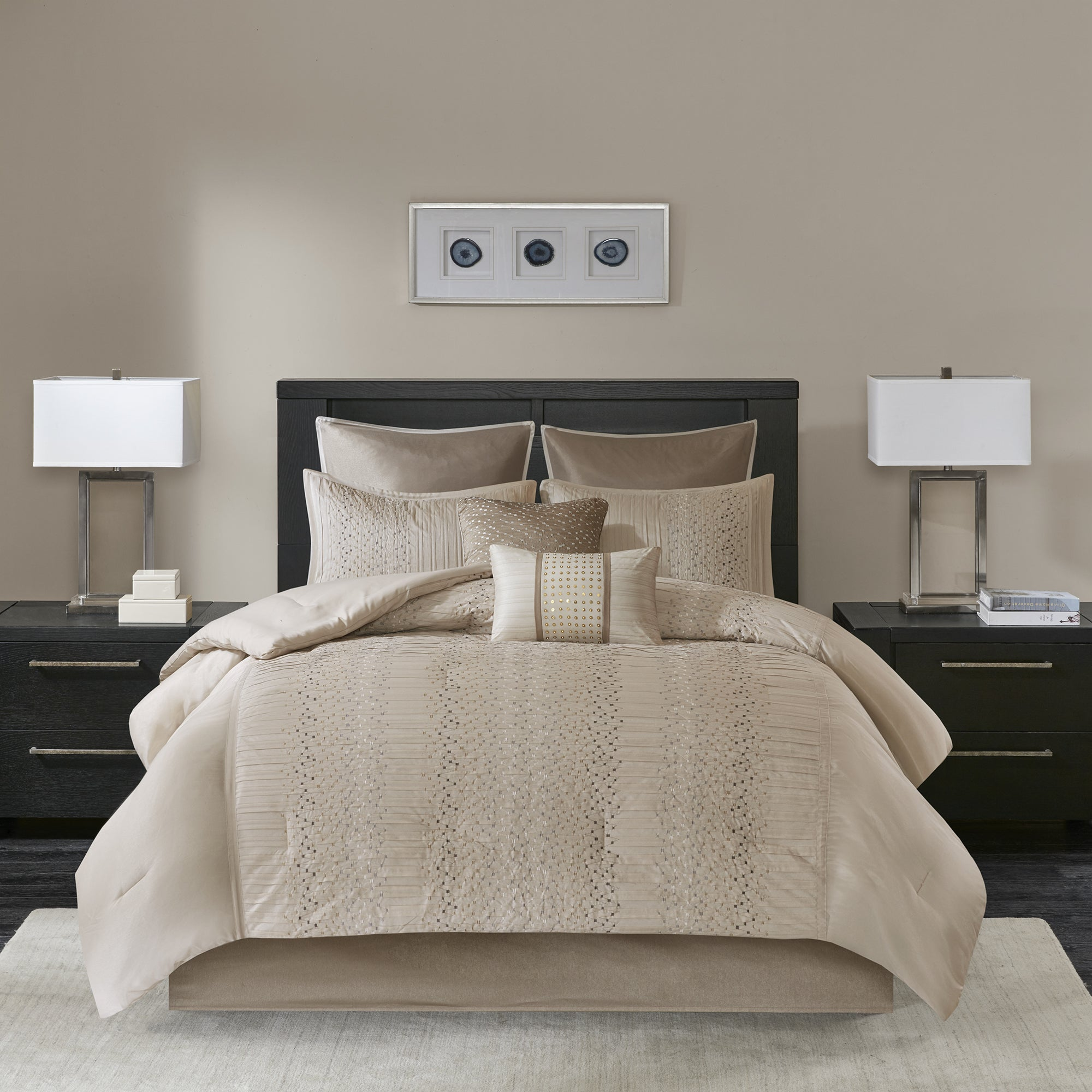 Madison Park Iris Natural 8 Piece Embroidered Comforter Set On Sale Overstock 16767241 California King