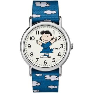 Timex Unisex TW2R41300 Weekender x Peanuts: Lucy Nylon Slip-Thru Strap Watch