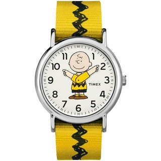 Timex Unisex TW2R41100 Weekender x Peanuts: Charlie Brown Nylon Slip-Thru Strap Watch