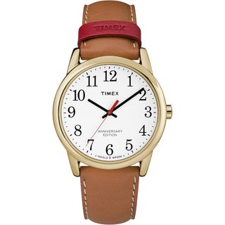 Timex Men's TW2R40100 Easy Reader 40th Anniversary Tan/White Leather Strap Watch