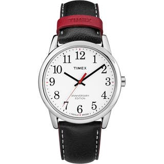 Timex Men's TW2R40000 Easy Reader 40th Anniversary Black/White Leather Strap Watch https://ak1.ostkcdn.com/images/products/16767269/P23075959.jpg?impolicy=medium