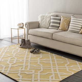 Colonial Home Yellow Geometric Handmade Area Rug - 5' x 7'6""