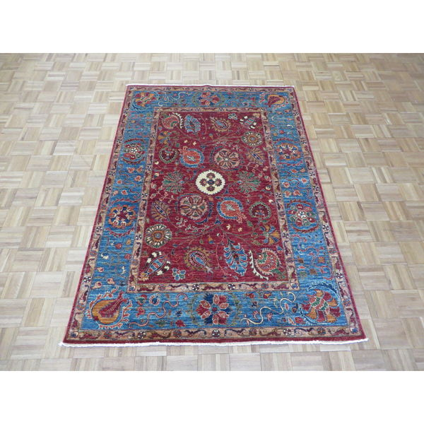 Mahal Red Blue Wool Hand Knotted Peshawar Oriental Rug 4 X27