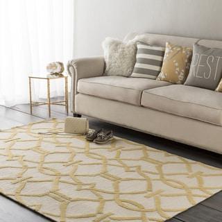 "Colonial Home Yellow Geometric Hand-Handmade Handmade Area Rug-5' x 7'6"""