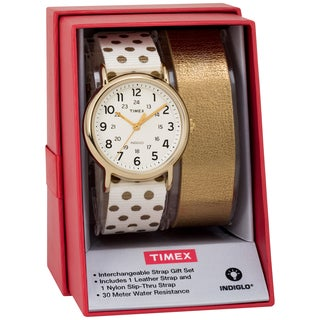 Timex Women's TWG015200 Weekender 38 Cream/Gold Dots Nylon Slip-Thru Strap Watch Gift Set + Metallic Gold-Tone Leather Strap