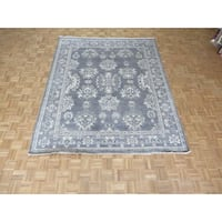 Silver Blue Oushak Wool Hand-knotted Oriental Rug - 7'11 x 9'9