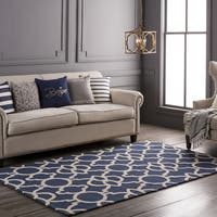 "Colonial Home Blue Geometric Handmade Area Rug - 5' x 7'6"""