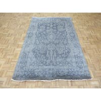 Oushak Silver Blue Wool Hand-knotted Oriental Rug - 5'1 x 7'10