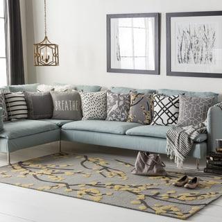 "Colonial Home Grey Floral Handmade Handmade Area Rug-5' x 7'6"""