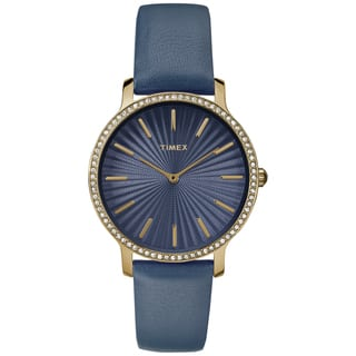 Timex Women's TW2R51000 Metropolitan Starlight Navy/Gold-Tone Leather Strap Watch|https://ak1.ostkcdn.com/images/products/16767324/P23076133.jpg?impolicy=medium