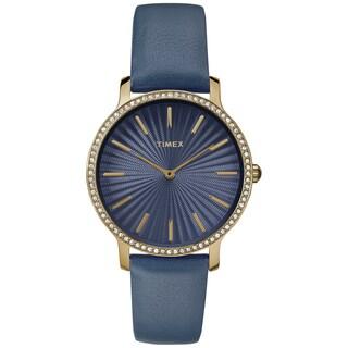 Timex Women's TW2R51000 Metropolitan Starlight Navy/Gold-Tone Leather Strap Watch
