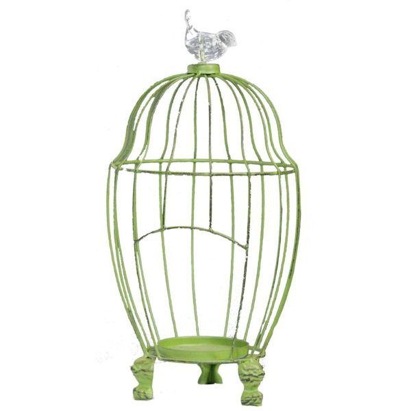 Benzara Green Metal Bird Cage