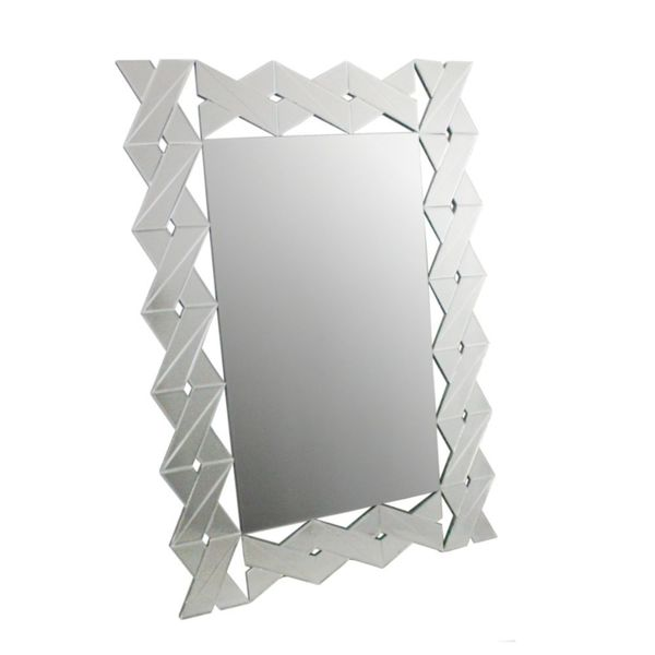 Benzara Grey Wood-framed Glass Wall Mirror
