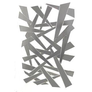 Benzara Grey Wood Abstract Decorative Wall Mirror