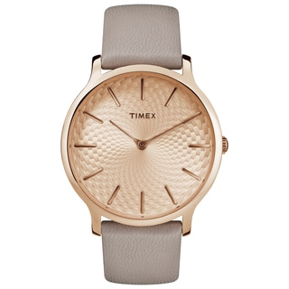 Timex Women's TW2R49500 Metropolitan Skyline Grey/Rose Gold-Tone Leather Strap Watch