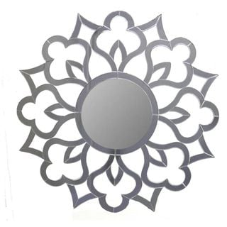 Benzara Grey Wood Round Mirror