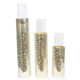 Benzara Gold-tone Ceramic 3-piece Mosaic Pillar Candle Holder