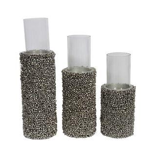 Benzara Grey Metal Pillar Candle Holders (Set of 3)