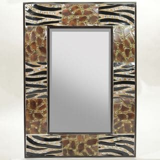 Benzara Appealing Animal Print Metal Mirror