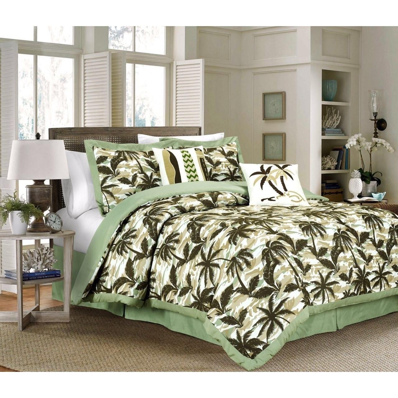 King Queen Beautiful Tropical Palm Leaf Green Sage Brown Comforter Set Cal Home Garden Comforters Bedding Sets