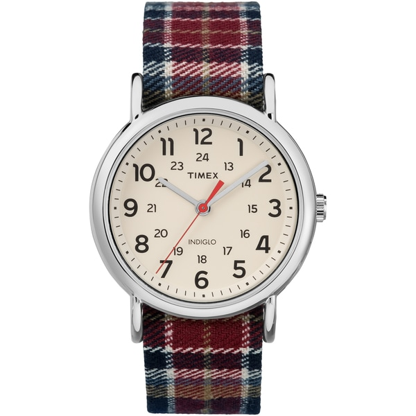 Timex Women's TW2R42200 Weekender Red/Black Plaid Fabric Slip-Thru Strap Watch