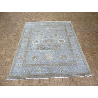 Sultanabad Oushak Sky Blue Wool Hand-knotted Oriental Rug (8'4 x 10'3)