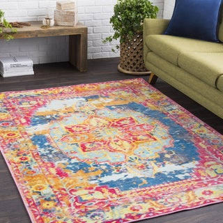 The Curated Nomad Larkin Pink Nylon Vintage Persian Medallion Area Rug - 5'3 x 7'3