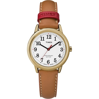 Timex Women's TW2R40300 Easy Reader 40th Anniversary Tan/White Leather Strap Watch