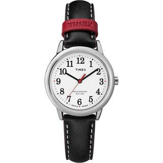 Timex Women's TW2R40200 Easy Reader 40th Anniversary Black/White Leather Strap Watch|https://ak1.ostkcdn.com/images/products/16767477/P23076140.jpg?impolicy=medium