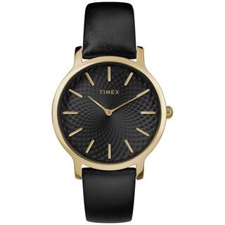 Timex Women's TW2R36400 Metropolitan Skyline Black/Gold-Tone Leather Strap Watch (Option: Black)