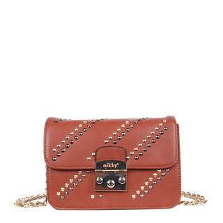 Nikky Studded Design Gold-Tone Chain Strap Crossbody Handbag
