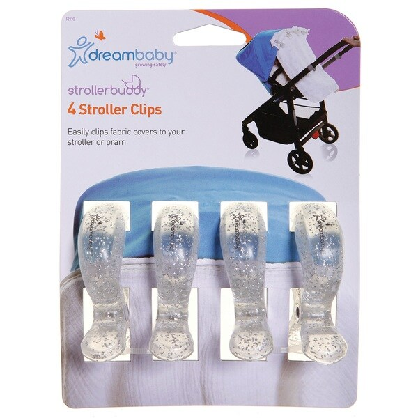 Dreambaby® Strollerbuddy® Stroller Clips, 4 Pack, Silver Glitter