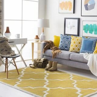 "Colonial Home Yellow Handmade Lattice Handmade Area Rug-5' x 7'6"""