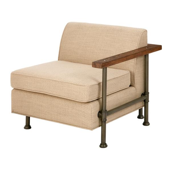 Ink+Ivy Atlanta Beige Wood/Foam One Arm Lounge Chair With Metal Legs
