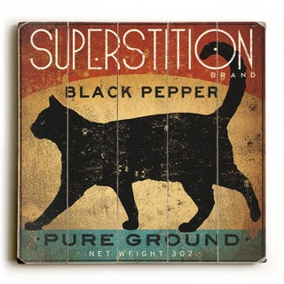 Superstition Black Pepper Cat - Wood Wall Decor by Ryan Fowler - Multi-Color