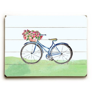 Spring Bicycle - Wood Wall Decor by Jennifer Rizzo - Planked Wood Wall Decor
